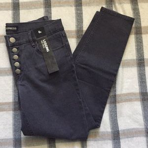 Express Gray Jeans Mid Rise Leggings -Size 6 Short